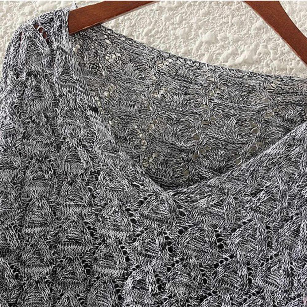 Самая популярная одежда! 2018 кардиган свитер пончо Осень Зима Женская открытая летучая мышь длинный рукав свободный V воротник свитер 810 oct30