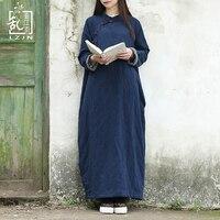 LZJN Uzun Kollu Kış Elbise 2017 Kadın Polar Maxi Elbiseler Geleneksel Çin Cheongsam Mavi Qipao Sıcak Robe Femme 1487