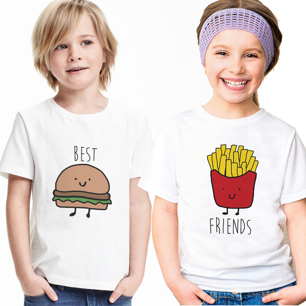 Kids Hamburg Chips T-shirts Brothers Sisters Best Friends Tshirts Siblings Matching Clothes Funny Children Boys Girls T Shirts image