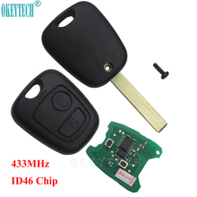 OkeyTech VA2 Blade 2 Buttons Remote Car Key for Citroen C1 C2 C3 C4 Xsara Picasso ID46 CHIP 433MHz Car Key Shell Replacement okeytech mini nd900 car key programmer nd 900 transponder tool auto car key for toyota g 4d67 72g t5 4c 4d id46 chip copy cloner