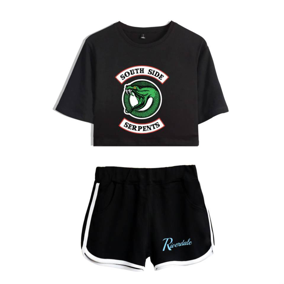 LUCKYFRIDAYF Riverdale Two Piece Set Summer Sexy 2018 Cotton Printed T Shirt Album Woman New Suit Shorts Crop Fashion Top Shorts