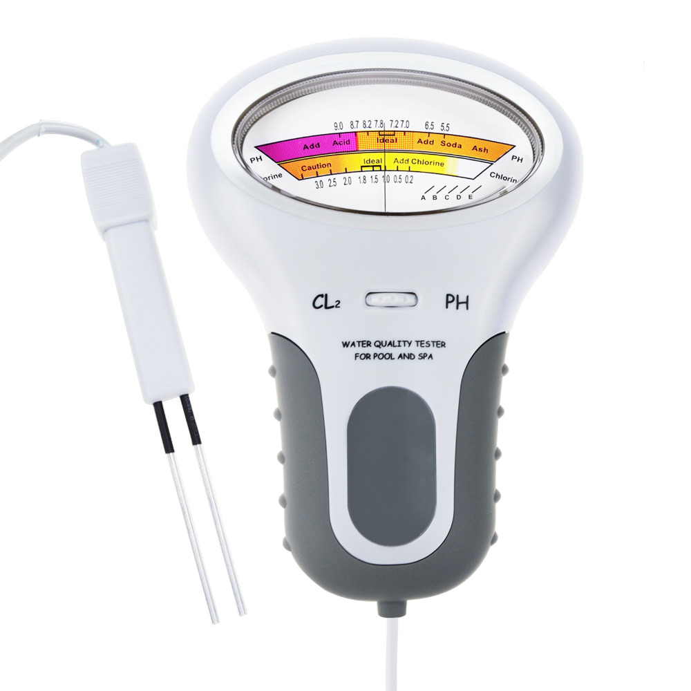 Digital Spa pH and Chlorine Tester Electro-Tester for pH and Chlorine(Cl2) Light Easy to Carry Water Quality Analysis swimming pool ph cl2 spa water tester 1 aa