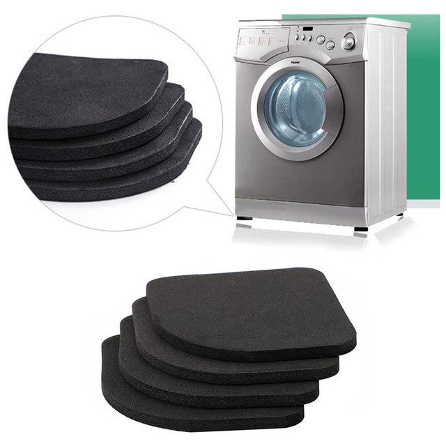 4pcs Refrigerator Anti-vibration Pad Washing Machine Shock Pads Non-slip Mat Black