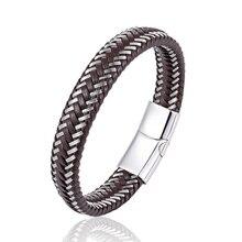 2018 popular man multi-layered simple black business leather bracelet stainless steel bracelet jewelry friends girlfriend gift