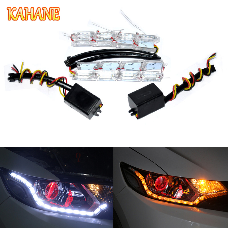 KAHANE 2x 8 LED DRL Crystal Strip Flexible Daytime Running Light Turn Signal Light FOR Mercedes Benz W203 W204 Ford Focus Fiesta door mirror turn signal light for mercedes benz w163 ml270 ml230 ml320 ml400 ml350 ml500 ml430 ml55