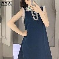 2019 Summer Chic Women Ruffles Dress Kawaii Embroidery Collar Girls Dresses Female Sleeveless Tank Sarafan Sundress Party Dress