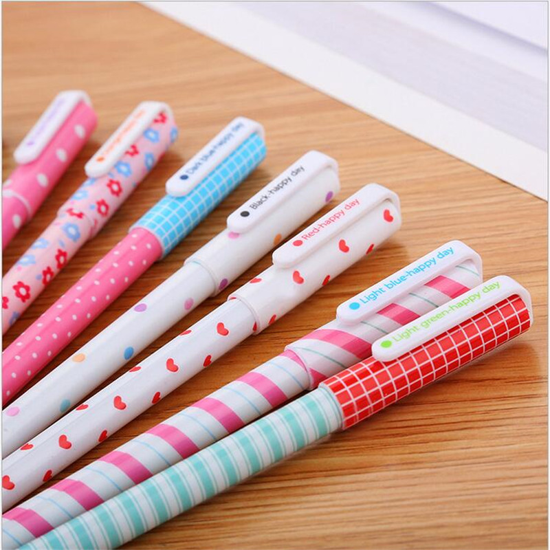 YOUE SHONE 10PCS LOTS Korea stationery sets creative fresh flower ten color gel pens cute student stationery color pen 0 38MM in Gel Pens from Office School Supplies