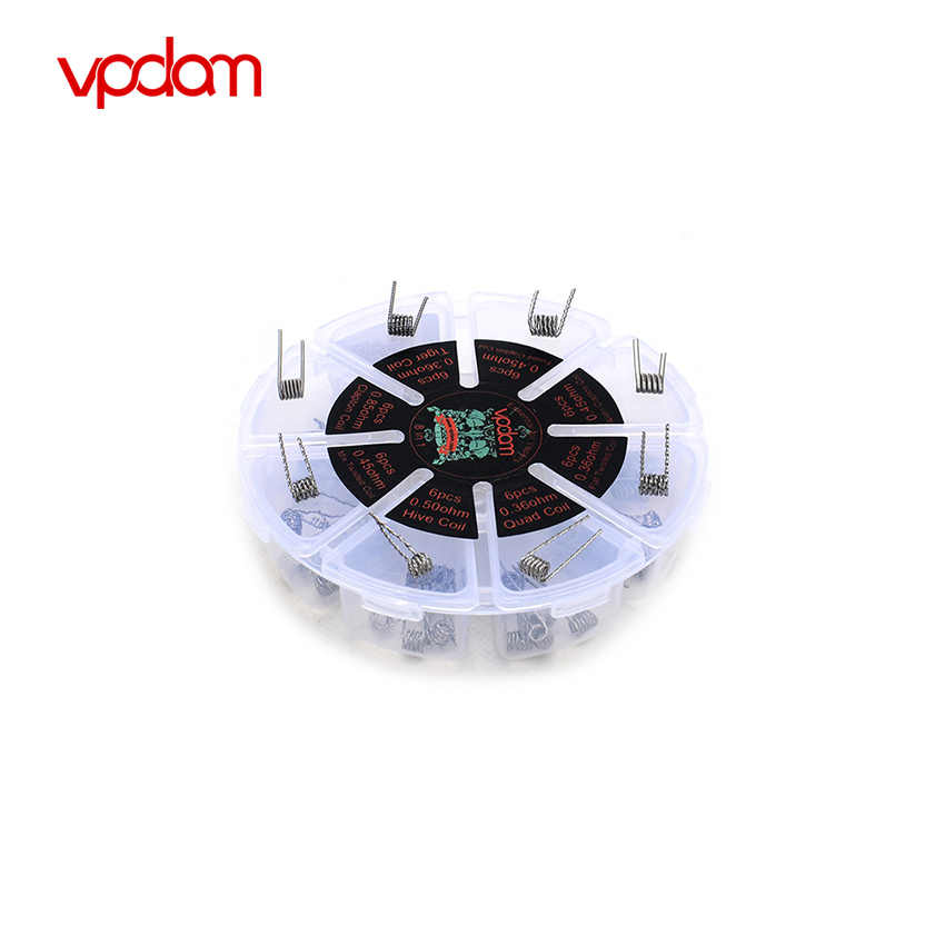 US WAREHOUSE Original Vpdam 8 In 1 Prebuilt Wire Coil Box Alien/Fused Clapton Hive Quad Tiger Mix/Flat Twisted Heating Core Wire