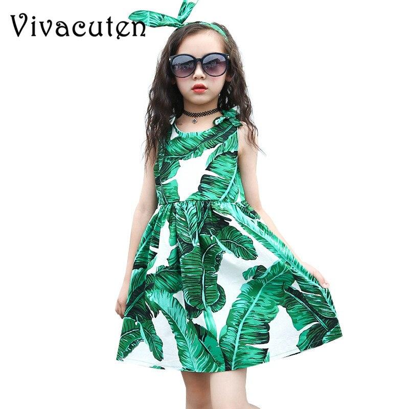 Новое летнее платье для девочек-подростков принцессы вечерние платья для малышей Детская одежда зеленый принт Костюмы От 3 до 13 лет H187