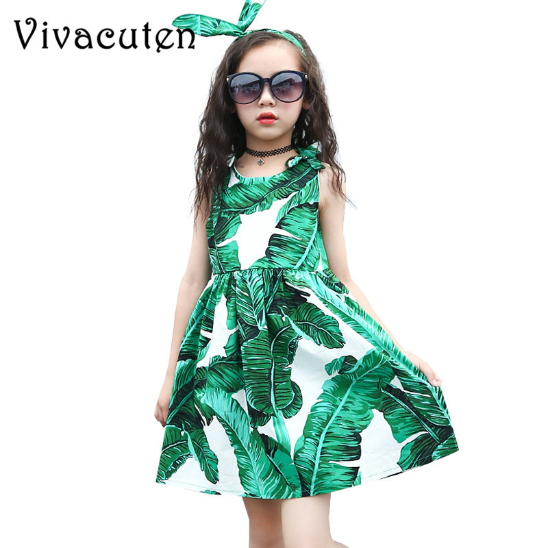 New Girls Summer Dress for Teenager Girls Princess Party Baby Kids Dresses Clothes Children Green Print Clothing 3-13Y H187