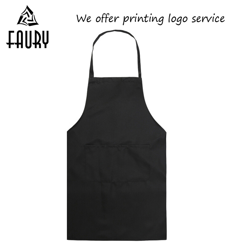 Wholesale Women Men 2018 Pure Color Chef Cook Kitchen Apron Restaurant Cafe Waiter BBQ Hairdresser Hang Neck Aprons