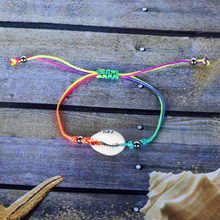 Woven rainbow fine seashell bracelet jewelry stainless steel beaded women men kids handmade Red rope style bangles friend gift(China)