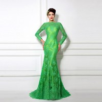 Real-Samples-Emerald-Green-Dress-Long-Sleeve-Women-Dress-Evening-Long-Party-Mermaid-Dresses-Vestido-Longo