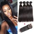 10A Brazilian Virgin Hair With Closure Brazilian Virgin Hair Straight With Closure 4 Bundles Cheap Human Hair Weave With Closure