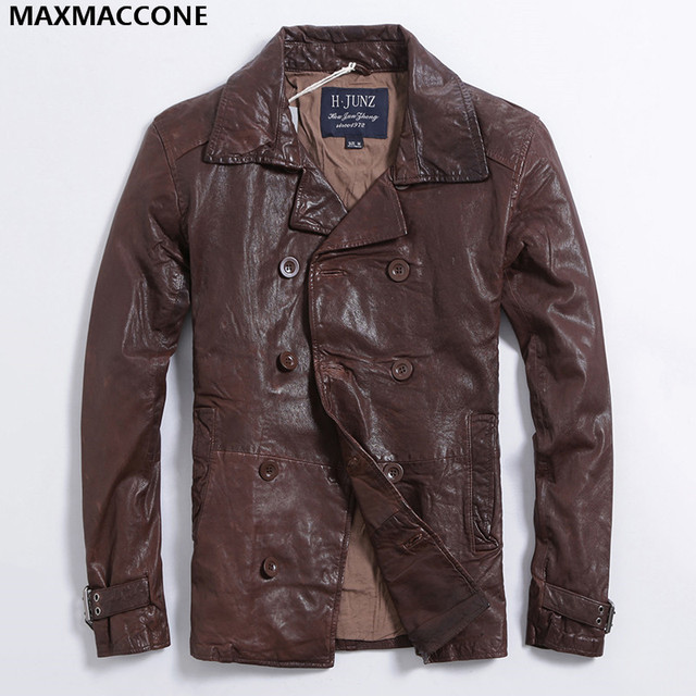 Aliexpress.com : Buy 2017 New Brown Casual Genuine Leather Jacket ...