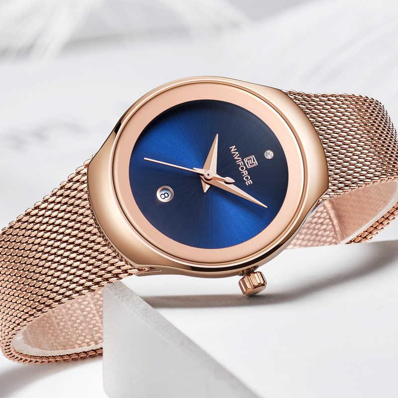 ด้านบนยี่ห้อ NAVIFORCE ผู้หญิงง่ายนาฬิกาควอตซ์หรูหรานาฬิกาสุภาพสตรีแฟชั่นคลาสสิก Rose Gold นาฬิกาข้อมือ Blue
