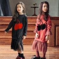 Baby Teenage Girls Long Sleeve Dresses Autumn Winter Red Black Mid Long Sweatshirts Hoodies Dress Children