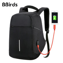 BBirds USB Charging Men 15 inch Laptop Backpacks Waterproof Men's Business Bag Anti Theft Roubo Backpack Nylon School(China)