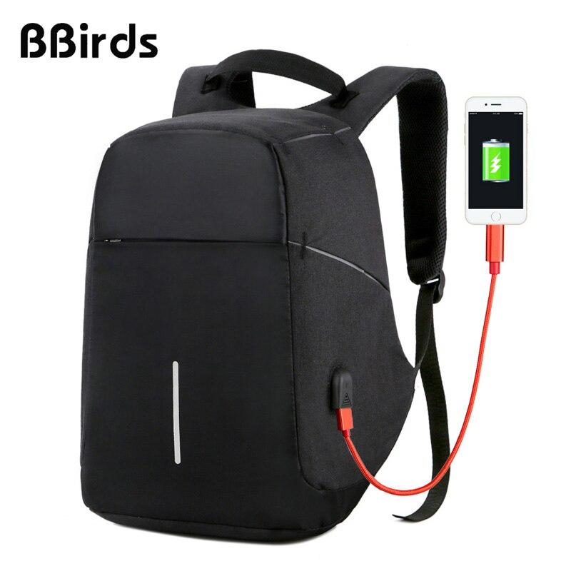 BBirds USB chargement hommes 15 pouces sacs à dos d'ordinateur portable étanche hommes d'affaires sac Anti-vol Roubo sac à dos en Nylon école
