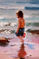 Beach children oil painting modern art Little Girl at the Shore 100% hand Painted High quality
