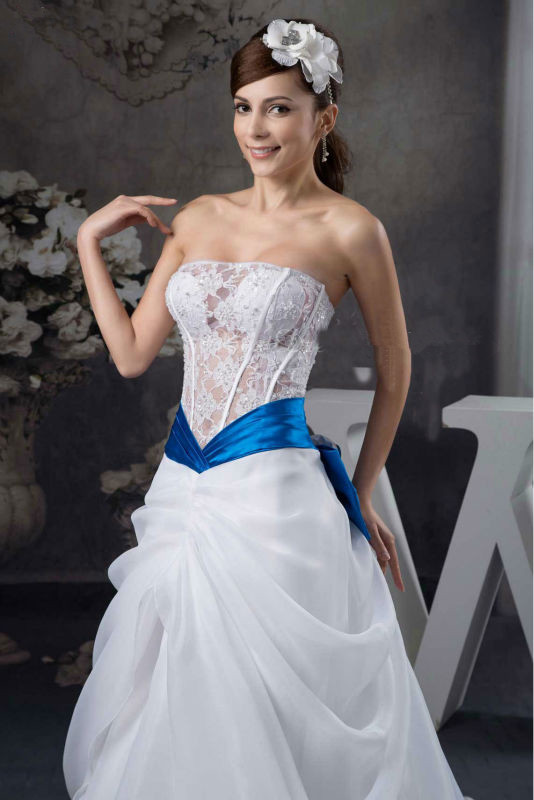2014 Elegant Sexy See Through Lace Ribbon Sash Royal Blue and ...