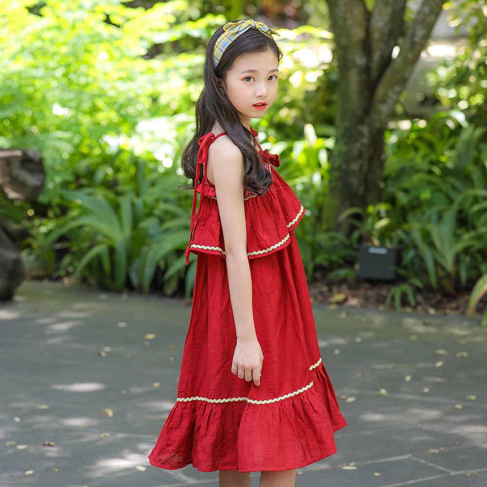 2019 летнее пляжное платье для девочек-подростков, новые модные красные и розовые праздничные детские платья, одежда для больших девочек 8, 10, 12, 13 лет, Kinder Kleider