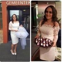 Elegant Long Sleeve Short Wedding Dress Knee Length Bridal Gowns Appliqued Short Prom Gown Appliqued Short
