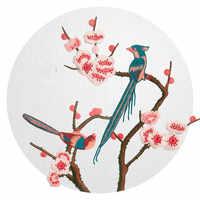 Fleur de prune et broderie d'oiseau grand Patch vêtements de Style chinois Patch Applique chaussure couture autocollants vêtements pour sacs de T-shirt