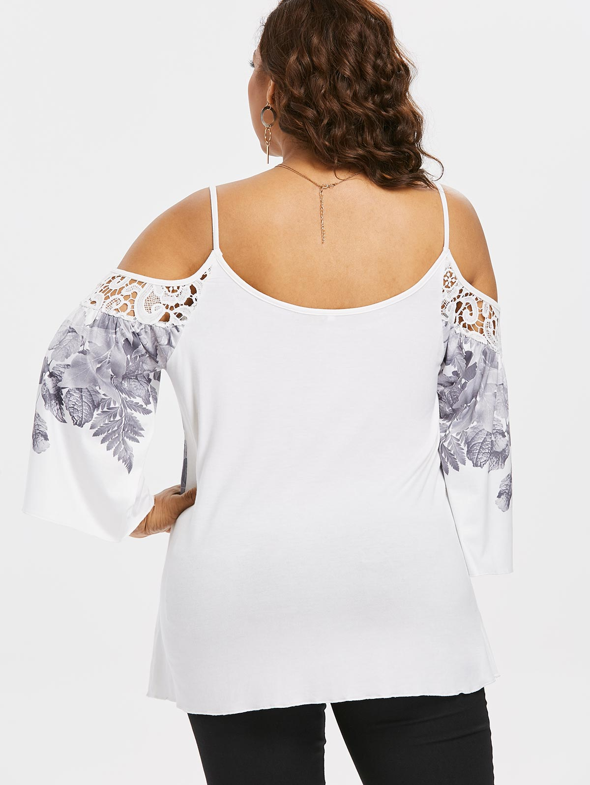 3f34704cb2276 Plus Size Cutwork Lace Trim Cold Shoulder Top Women Dew Shoulder Leaf Print  Cutwork Lace Insert Flare Sleeve Peasant Blouse-in Blouses   Shirts from  Women s ...