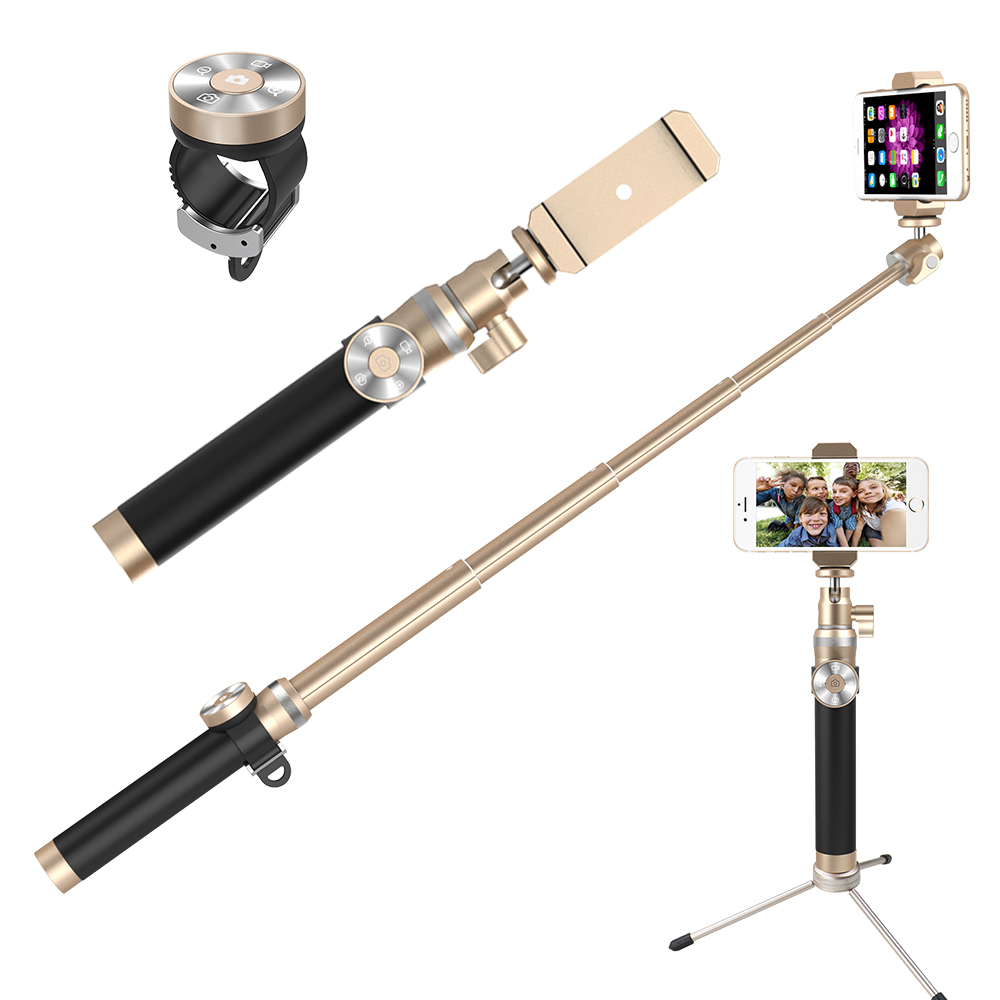Fashion Extendable Self Selfie Stick Handheld Monopod Clip Holder Bluetooth Shutter Remote Controller for iPhone Android