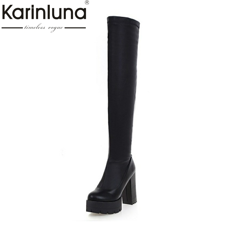 KarinLuna Classcis White Black Thigh High Boots Women Sexy Over The Knee Boots Fall Winter Shoes