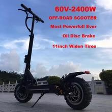 11 pouces hors route coussinet plantaire mobilité kick scooter smart électrique scooter avec avant et arrière suspension