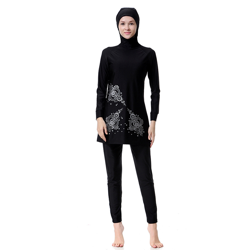 Manoswe High Quality Middle East Islamic Muslim long sleeve Print Burkinis Hijab Full Cover Costume swimwear Fashion Swimsuit in Muslim Swimwear from Sports Entertainment