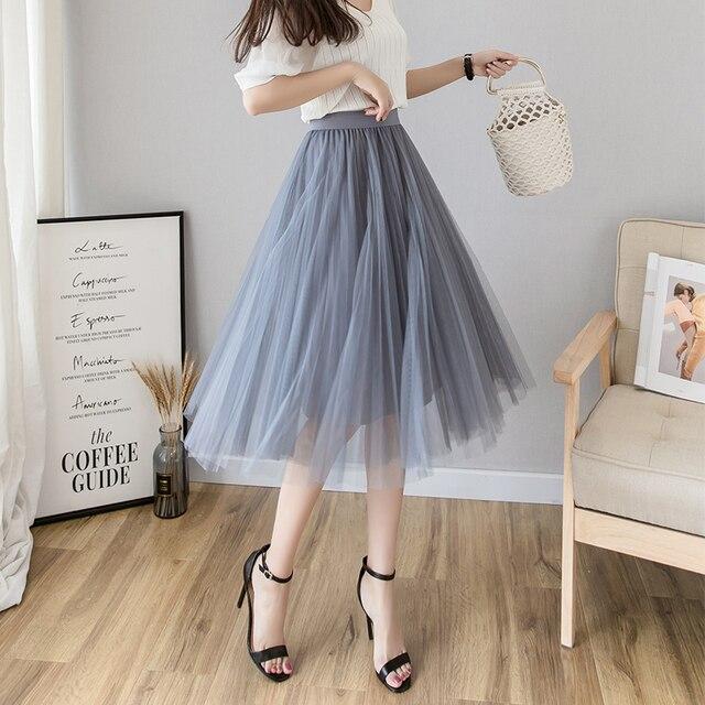 Tulle Skirts Womens Midi Pleated Skirt Black Pink Tulle Skirt Women 2019 Spring Summer Korean Elastic High Waist Mesh Tutu Skirt 2