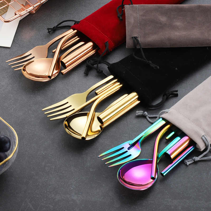 Portable Travel Dinneware Set Stainless Steel Reusable Cutlery Set Spoon Fork Chopsticks Set Metal Straw Pouch Carry Bag Kit