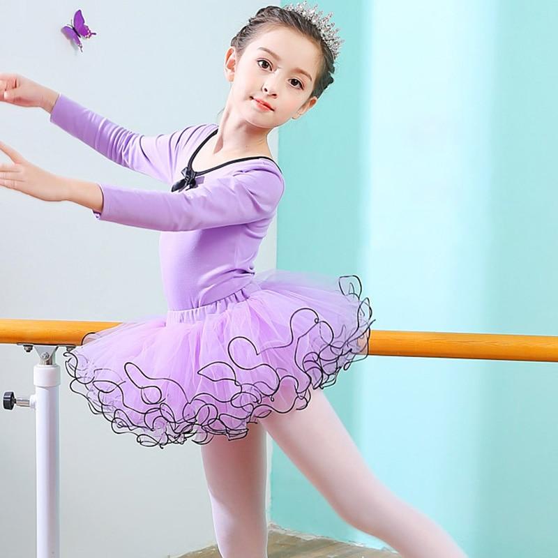 Children Girl Tutu Ballet Dance Dress Gymnastics Leotard Pink Purple Competition Practice Ballet Skirt Girls Dancewear Dress