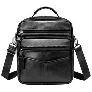 Image 2 - Genuine Leather Males Crossbody Bag Casual Business Leather Mens Messenger Bag Vintage Men Big Bag Zipper Shoulder Handbags