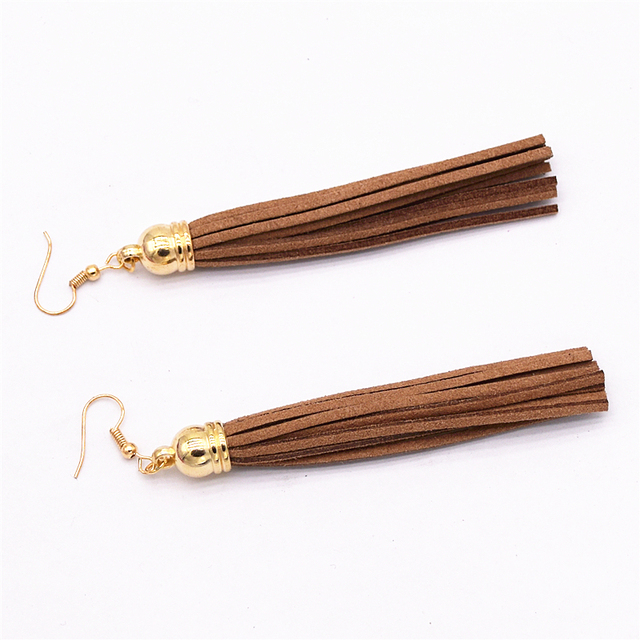 Velvet Leather Tassel Earrings