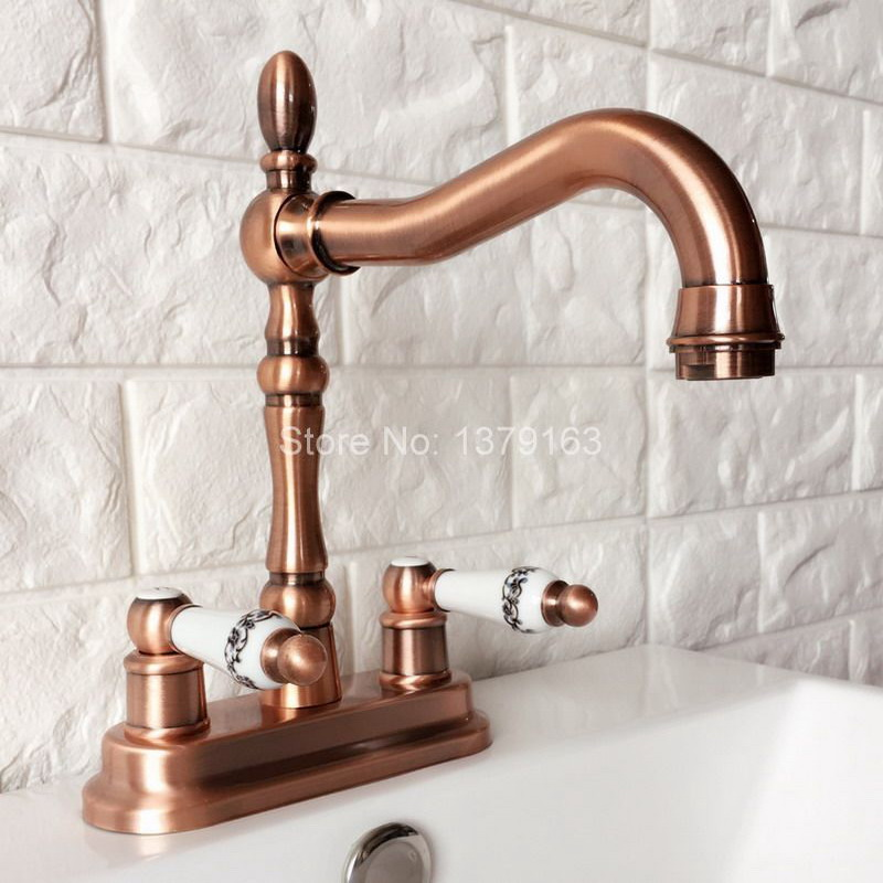 Antique Red Copper 4 Centerset Brass Kitchen Bathroom Vessel Sink Two Holes Basin Swivel Faucet Dual Handles Water Tap arg051 antique red copper dual cross handles kitchen sink faucet swivel spout bathroom basin vessel sink mixer taps deck mount wrg002