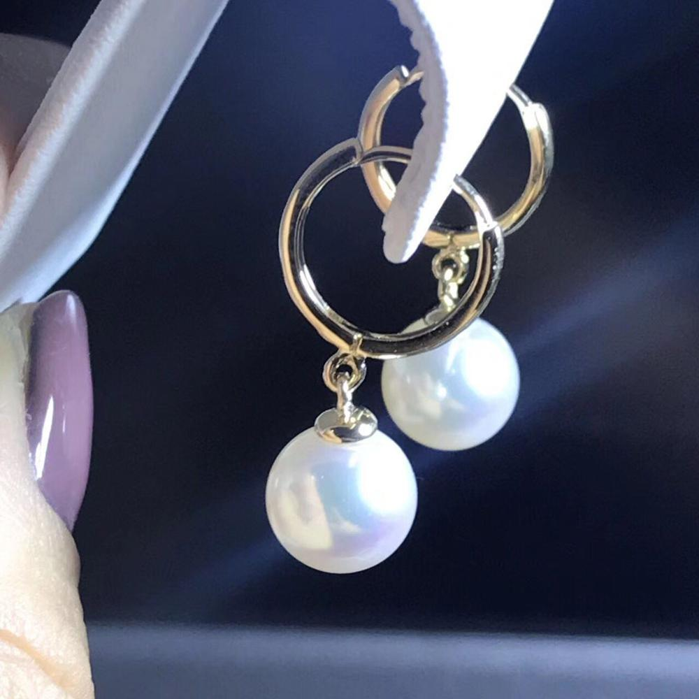 free shipping  a pair 10-11mm AAA south sea white round pearl dangle earrings yellow gold