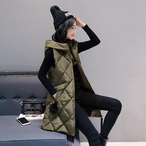 Image 5 - Womens Vests Winter Slim Hooded Women Vest Plus Size Coats Women 4XL Sleeveless Jackets And Coats Long Vest And Waistcoats Parka