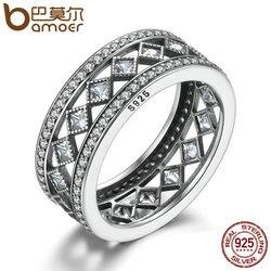 BAMOER Лидер продаж 925 пробы Серебряный квадрат Винтаж Fascination, ясно CZ большое кольцо для Для женщин Роскошные Модные украшения S925 PA7601
