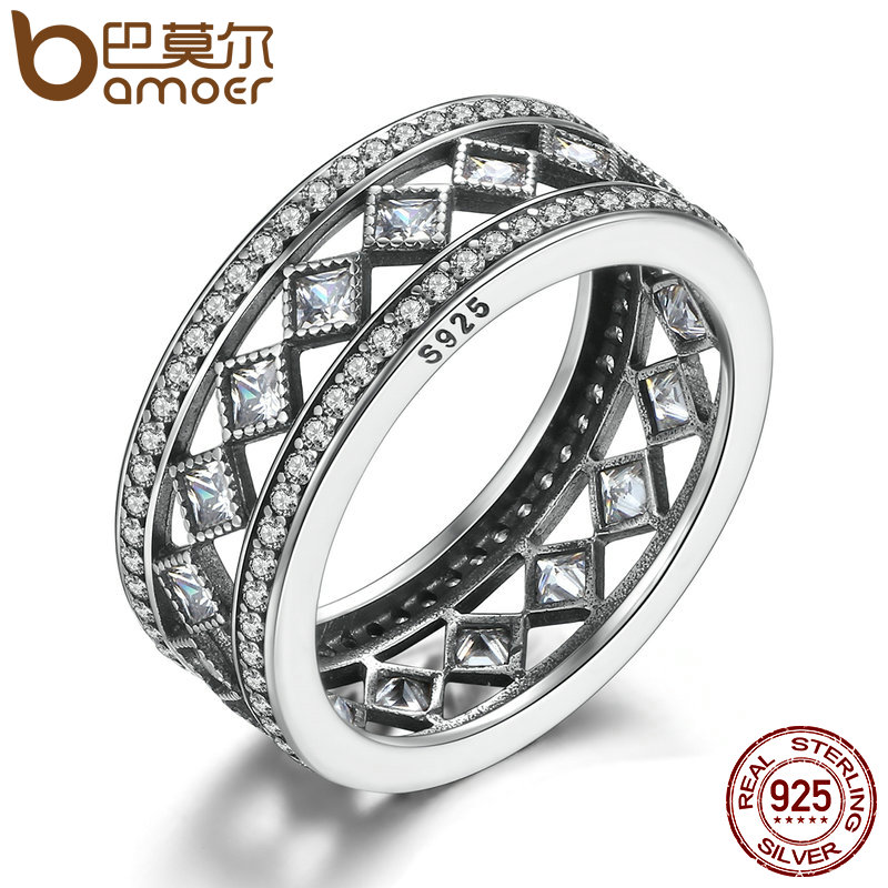 BAMOER Hot Sale 925 Sterling Silver Square Vintage Fascination, Clear CZ Stor Ring För Kvinnor Luxury Fashion Smycken S925 PA7601