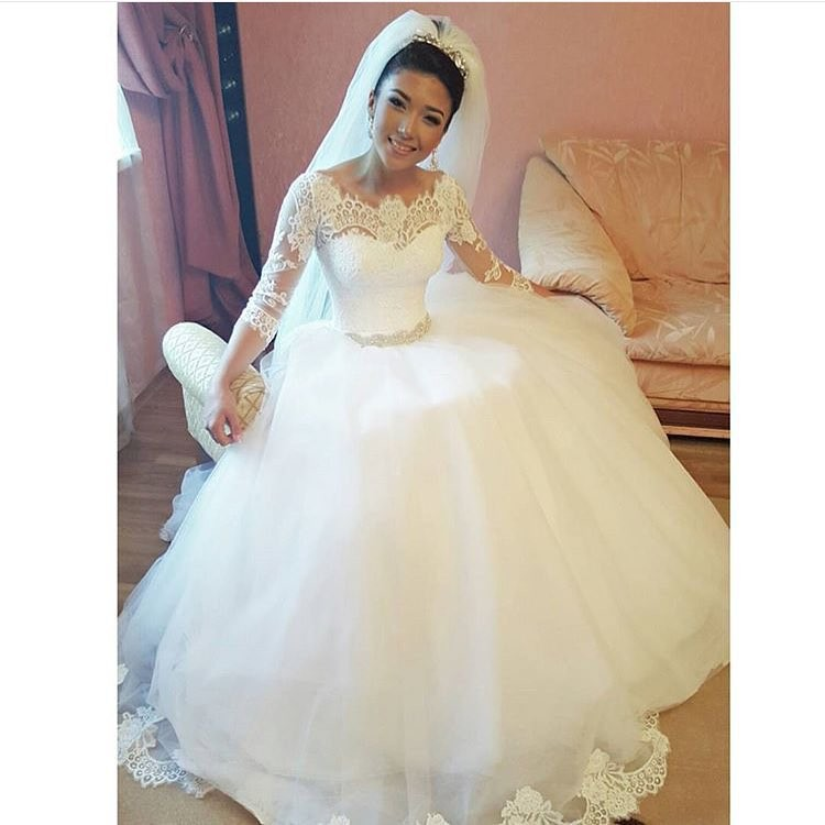 Fashionable Boat Neck Three Quarter Sleeve Tulle Lace Vestido De Noivas Princess 2018 Wedding Dress Made In China