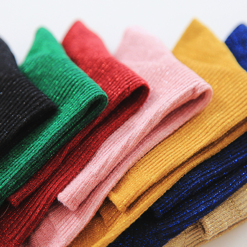 Japan Style Cotton Solid Shiny Woman Simple   Socks   Fashion Art Fold Female Student Thick Warm   Socks   Shiny Metallic Line   Sock