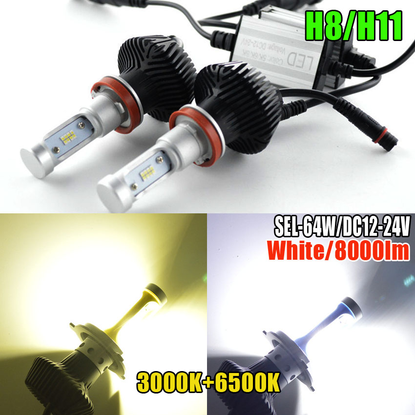 CAR LED Light Bulbs H11 9006/HB4 9005/HB3 H4 Hi/Lo H7 64w Car Headlight Kit 8000LM 3000K-6500K  Foglight Replacing 55W Halogen tcart 2x 9005 hb3 9006 hb4 dual color car led headlight white yellow headlamp bulbs fog lamps for plips chip 36w auto led light