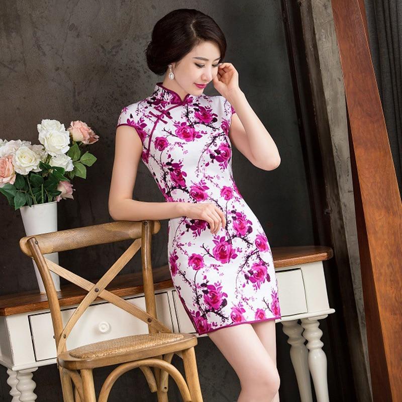 2015 Fashion Cotton Women Dress Tradition Short Dress Floral Pattern Cheongsam Sexy -5333