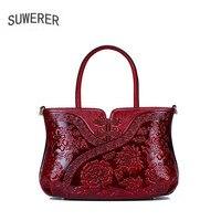 SUWERER новые женские сумки из натуральной кожи модные тисненые цветы роскошные сумки женские сумки дизайнерские женские кожаные сумочки