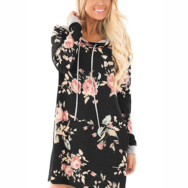 75395066a2a7d 2017 Autumn Winter Women floral print Hoodie Dress Plus Size Loose Pullover  Casual Long Sweatshirt Thicken Hooded Dress