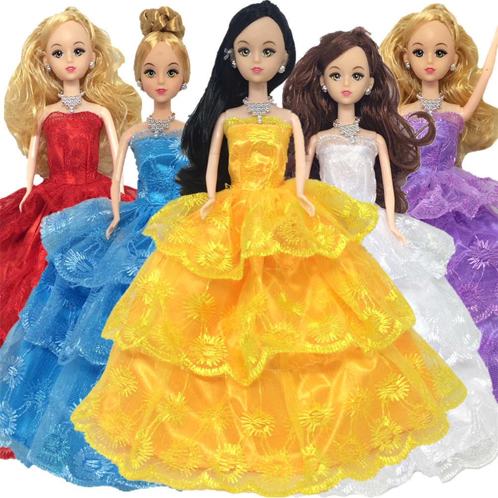 モデルドレスプリンセス豪華なマルチレースのウェディングパーティードレスのために人形ドレス刺繍 3 層